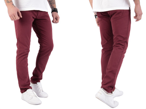 Wrangler Larston Cordovan Red Slim Tapered 33 X 30 Trousers W33 L30