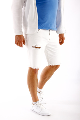 Wrangler Regular Shorts White Ripped W34 W15U-ES-033 34 x 00